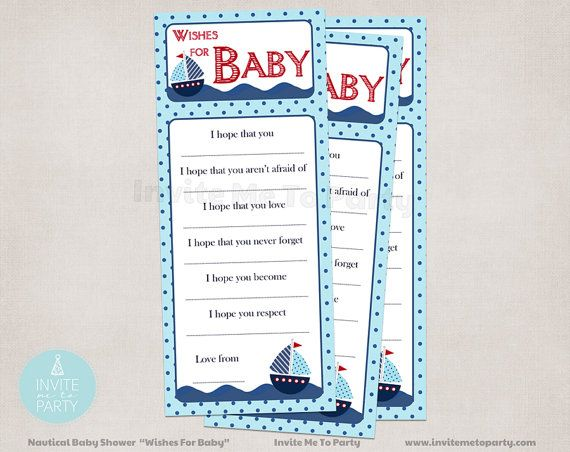 Nautical Baby Shower Wishes For Baby by InviteMe2Party on Etsy, $5.00