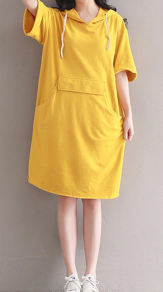 Women loose fitting over plus size yellow hood dress long shirt tunic fashion #Unbranded #dress #Casual