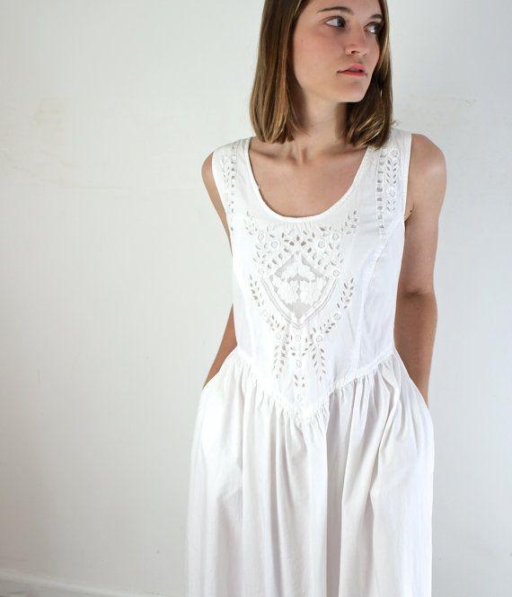 Lace Dress  White Cotton Sundress by jessjamesjake on Etsy