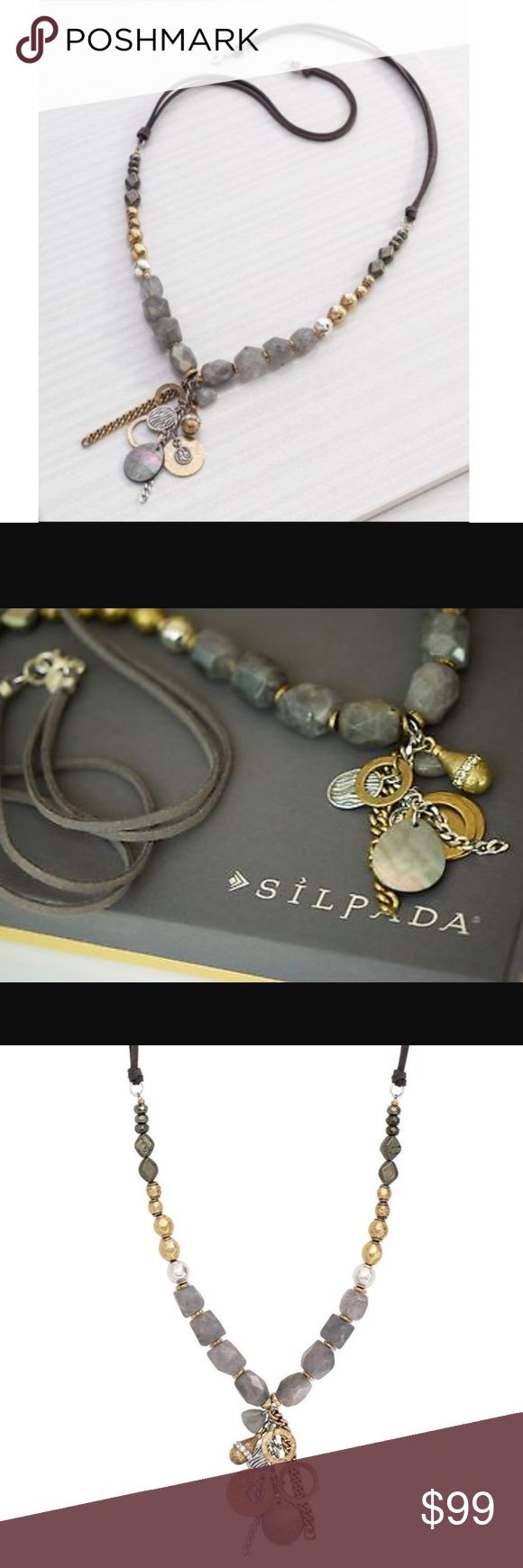 """Silpada Rare """"Ethereal Necklace"""" Silpada """"Ethereal Necklace"""" Brass, Labradorite Sterling Silver. 30"""" Materilal - Agate, Brass, Cord, Labradorite, Pyrite, Shell, Swarovski Crystals ❤️ Silpada Jewelry Necklaces"""