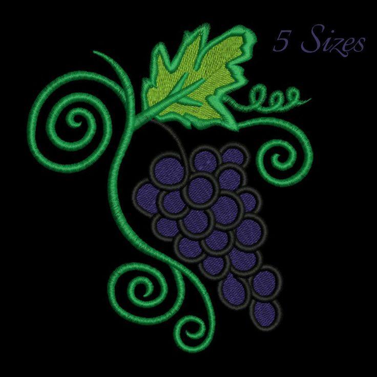 Grape machine embroidery design,wine design,digital download, pattern,kitchen,mom,grape,fruit by GretaembroideryShop on Etsy