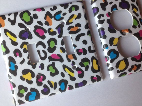 Leopard Light Switch Cover / Rainbow Leopard by COUTURELIGHTPLATES