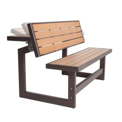 Features:  -With table conversion.  -Purchase two to create a classic picnic table.  -Easily converts from bench to table.  -Ultra stable in both positions.  -Durable, weather resistant simulated wood