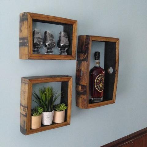 Bourbon Barrel Shadow Box Wall Display