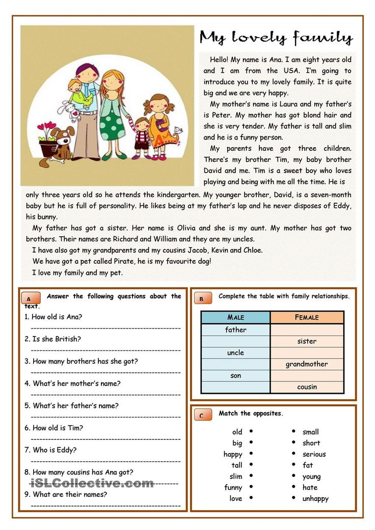 Worksheets For English Learners : Reading comprehension exercises for english language