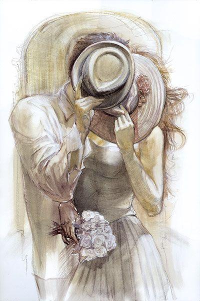 romanceInspiration Artworks, The Kisses, Drawing Something, Actually Photos, A Kisses, Sweets Kisses, Lena Sotskova, Cowboy Hats, Drawing Hats