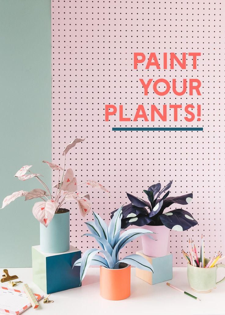 Painted Faux House Plants