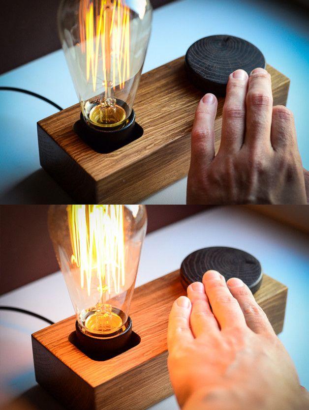 Tischlampen - edison DIMMERSCHALTER lampe BLOCK#35 holz lampe - ein Designerstück von dtchss bei DaWanda (Woodworking Desk)