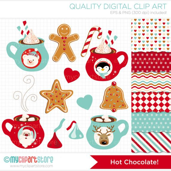 Clipart Combo  Hot Chocolate / Christmas Clip by MyClipArtStore, $6.00
