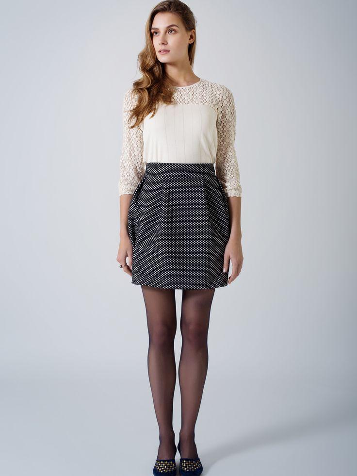 Elegant outfit / Organic cotton ecru top / Lace trim detail / Black - white spot bubble mini skirt