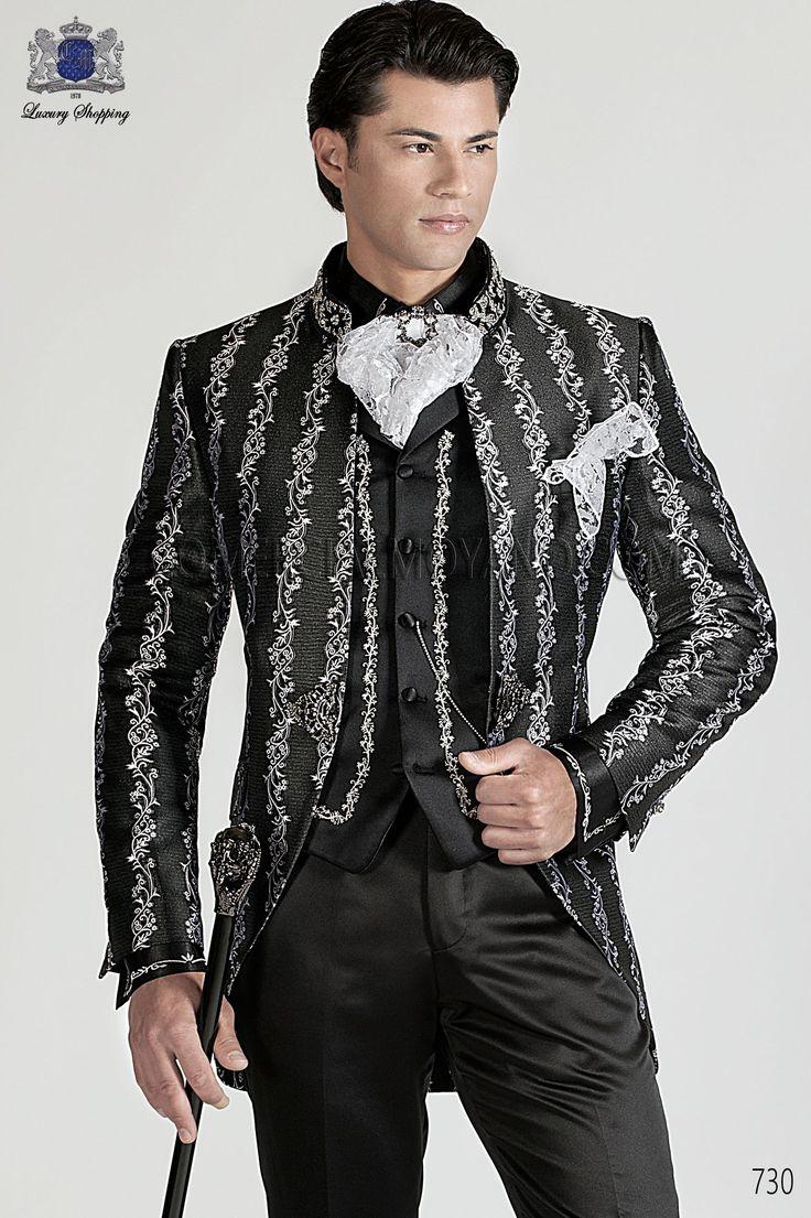 Traje de novio semilevita coreana en tejido brocado negro-plata con cuello Mao de pedrería, pantalón de raso negro, modelo 730 Ottavio Nuccio Gala colección Barroco 2015.