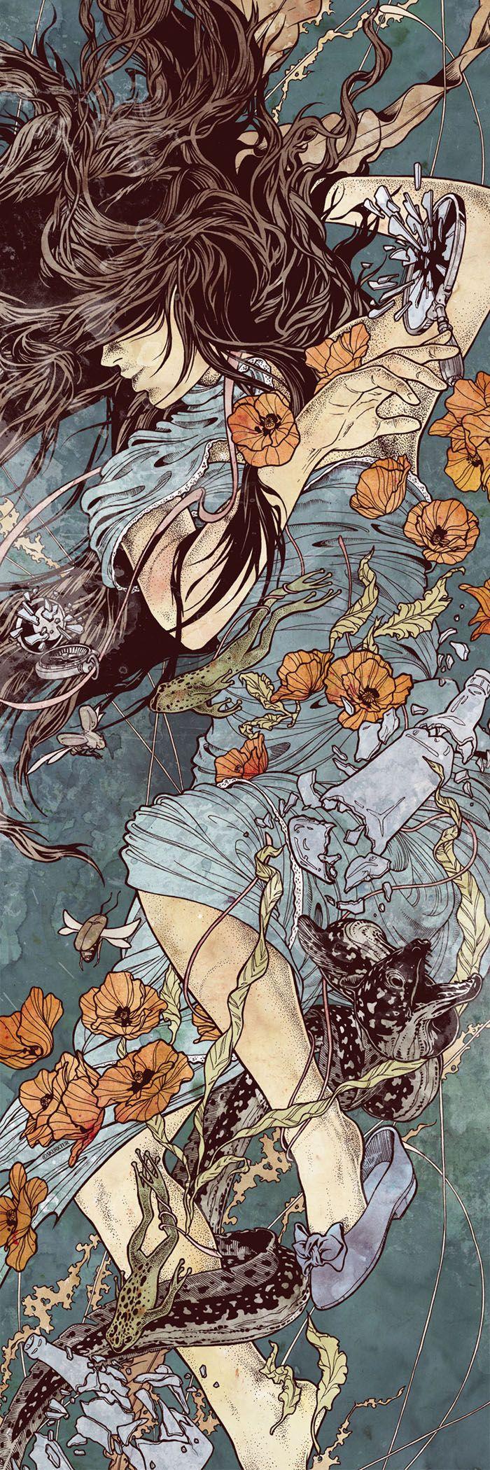 Yo soy de la tierra y vuelvo a la tierra. Crear la historia de una chica que espera a su esposo en un bosque y por amor se quedo alli hasta que las plantas enrrollaron sus pies, el grass se fundio con su vestido, su cabellos se transformo en ramas y sus lagrimas son las flores que caen en el otoño, temporada en que el amor de los dos personajes desafortunados, juraron amor