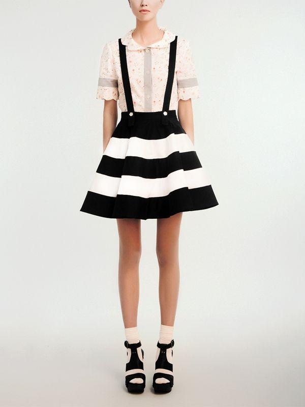 .: Style, Dress, Outfit, Stripes Fashion, Striped Skirts, Pretty, Black White Stripes, Top