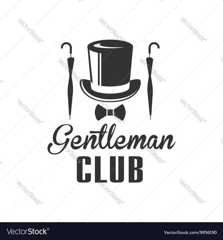 Gentleman Club Label Design With Umbrella Vector Image by TopVectors