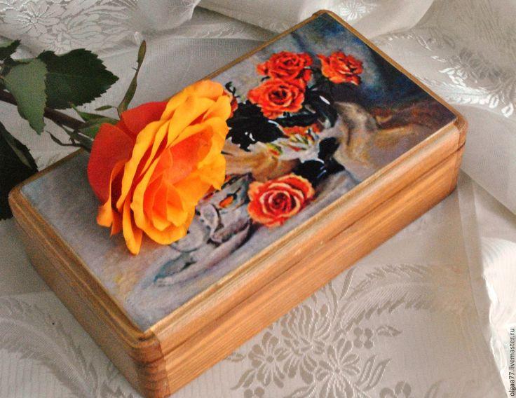 Купить Купюрница Оранжевые розы - оранжевый, розы, купюрница, купюрница декупаж, купюрница ручной работы