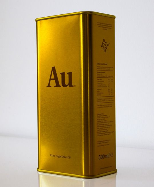 Extra virgin Olive Oil (the spanish agency Wesemua has designed the golden packaging with the symbol of the periodic table) PD