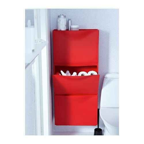 Trones also work well in small spaces like bathrooms to hide toilet paper rolls and cleaning supplies.