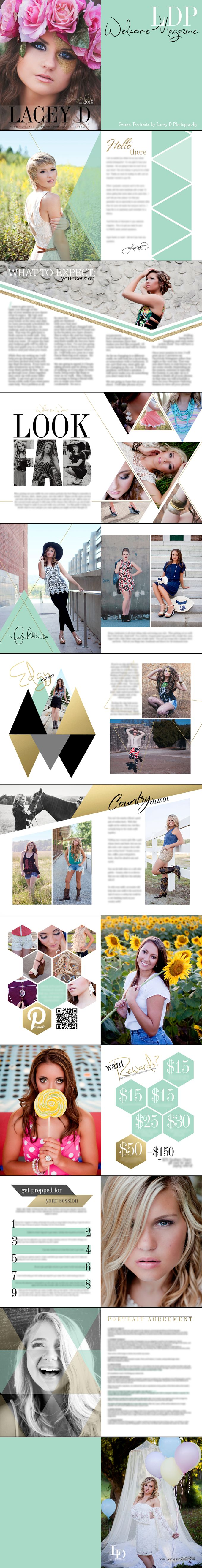Lacey D Photography Welcome Magazine - Welcome Packet - Senior Portraits - Packaging Check out the website, some girl tried a new diet and tracked her results