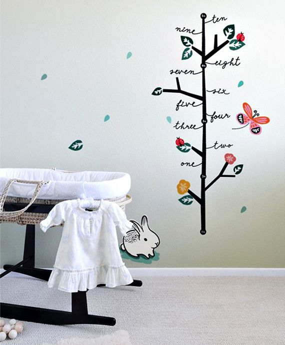 DIY idea - Paint a tree on the wall with height measurements at various points, than mark your child's growth each year and write their age.