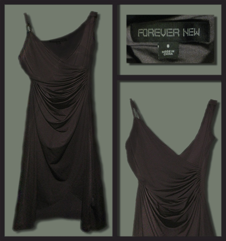 Forever New Silver Drape Dress with plated strap.  Size: 8   Price: $20