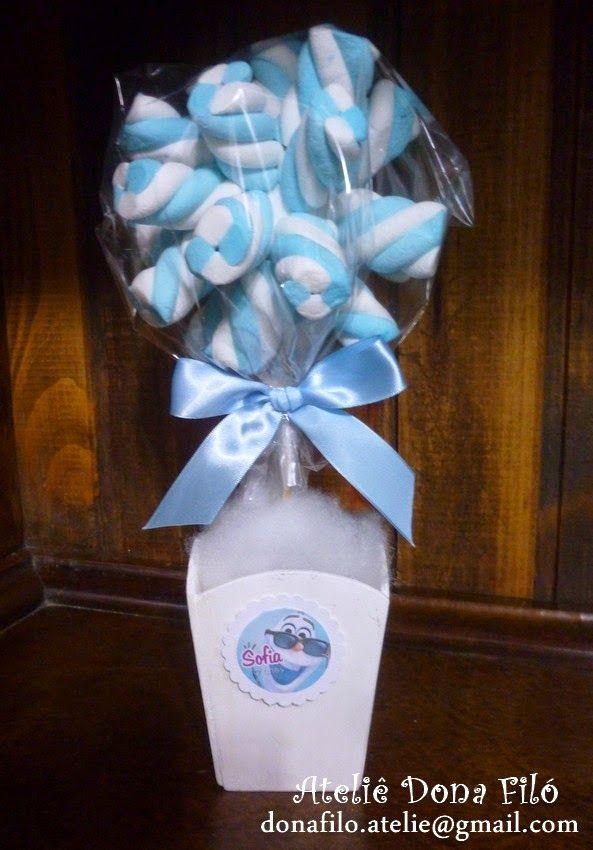 Dona Filó - Ateliê: Centro de Mesa para Festa Tema Frozen - Topiaria de Marshmallow