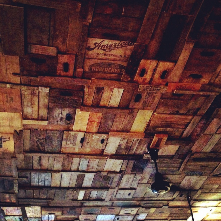 The ceiling of the new Black Brick coffee shop in Williamsburg. It's made of old beer crates.  Photo: nickonken Camera: iPhone 4S