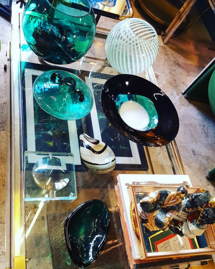 Murano glass in teal and vert-nil