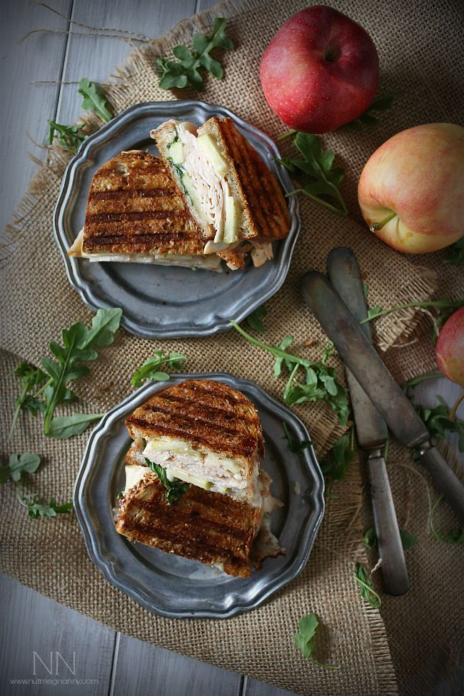 This fall inspired turkey apple brie panini with honey mustard maple mayo is the perfect sweet and savory combination.
