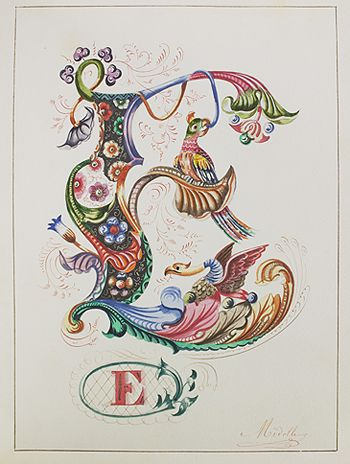 """illuminated alphabet. """"s"""", but doesn't have to be as ornate as this one, just an example. 8"""" hoop, aqua/red/lime"""