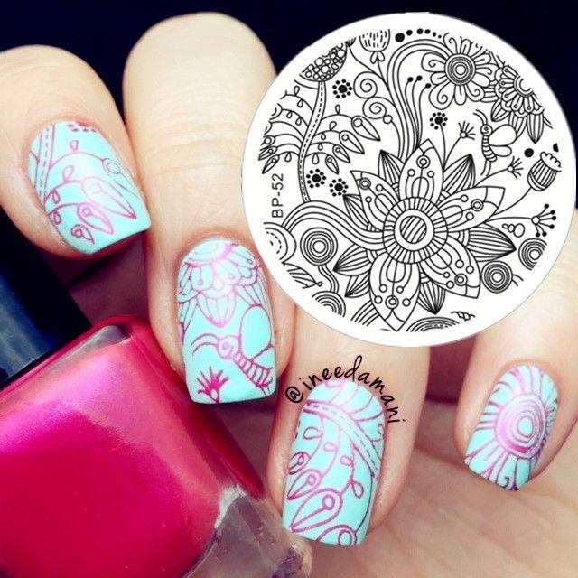 $2.39 Full Design Beautiful Flower Nail Art Stamping Template Image Plate BORN PRETTY BP52 - BornPrettyStore.com