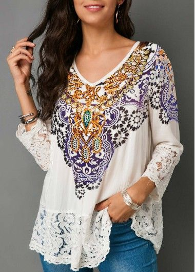 Three Quarter Sleeve Lace Patchwork White Blouse Modlily