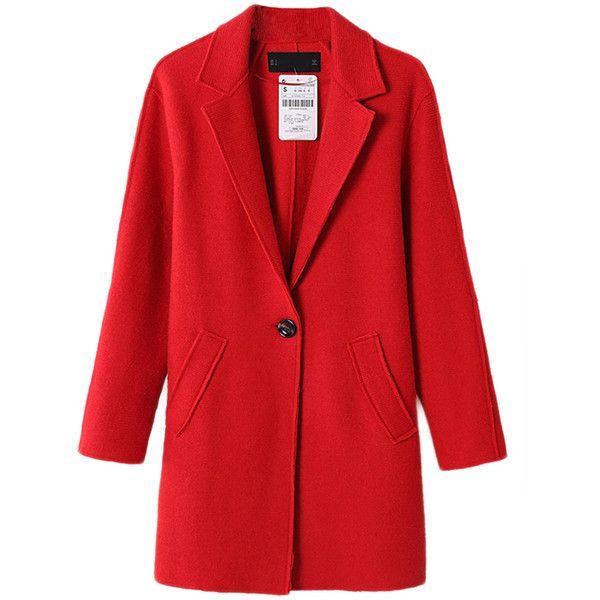 Red Ladies Lapel Plain Loose Wool Blazer…