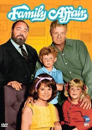 Family Affair  -  Family Affair. Pictured are Kathy Garver (Cissy), Anissa Jones (Buffy), Johnny Whitaker (Jody), Bill Davis (Brian Keith), and Mr. French (Sebastian Cabot)