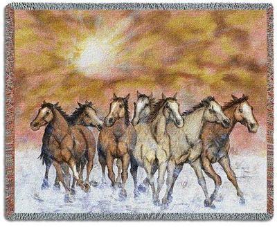 70x54 Horse Sunset Run Western Southwest Tapestry Throw Blanket 49 95