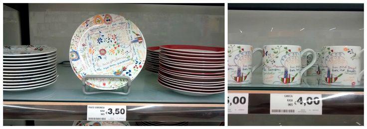 Conjunto de pratos de sobremesa e canecas do supermercado Continente com tema do lenço dos namorados.
