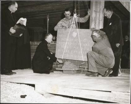 """""""Probably no structure ever built in the state of Mississippi has been the work of so many hands … so many hearts.""""   The cornerstone of the new hospital (St. Dominic's) was laid into its foundation in 1952."""