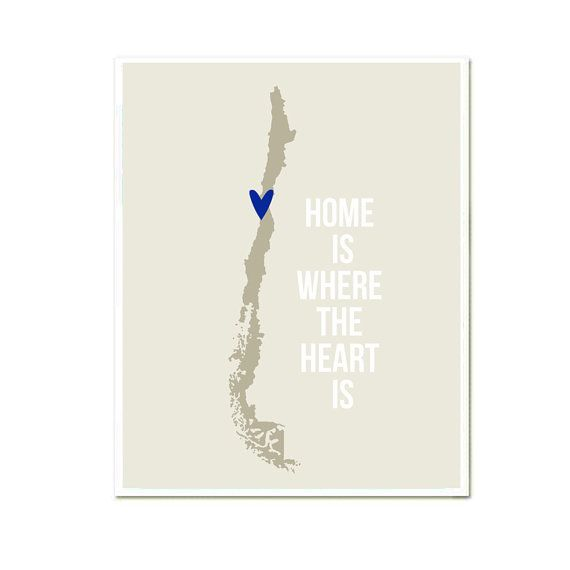 Chile Home is Art Print 8 x 10 inch Travel Map SALE buy 2 get 3 on Etsy, $19.90