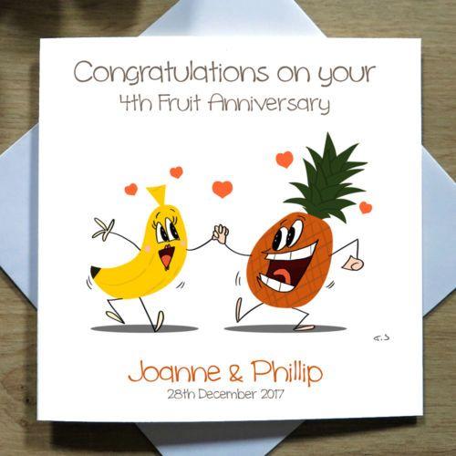Personalised Handmade Fruit Wedding Anniversary Card