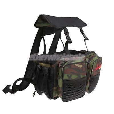 Canvas Fishing Seat Box Backpack Camping Stool Seat Box Carrier Rucksack Bag