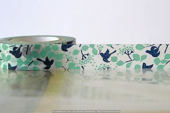 Japanese Washi Tape  Navy Teal Bird Tree Leaves Fall by PrettyTape, $3.90