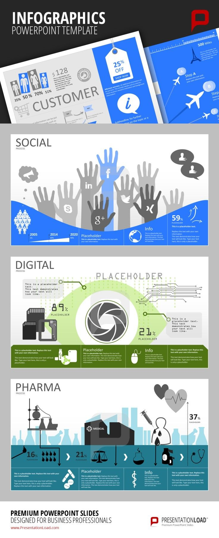 Infographic PowerPoint Templates Visualize your company's activity in social networks such as Facebook, Xing, LinkedIn or Google+. You can also create appeling infographics to explain digital processes. You can also easily provide your audience with information regarding the creation of pharma products. #presentationload  www.presentationl...