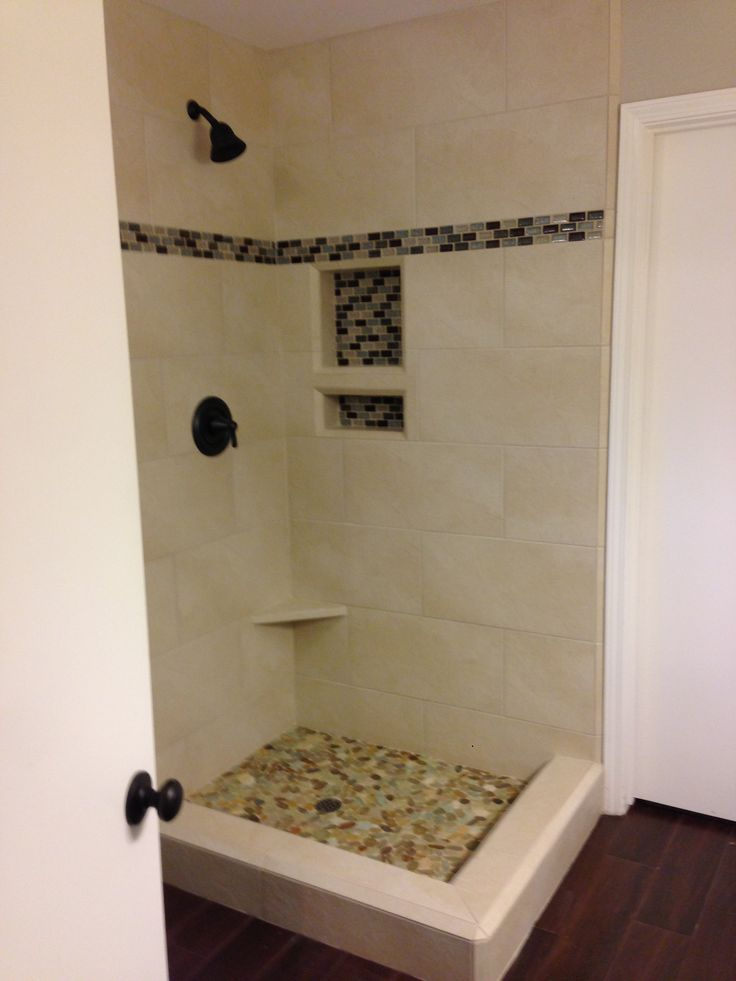 New Shower Tile Sea Glass Mosaic Tile Accent And Pebble Floor My House Pinterest Shelves
