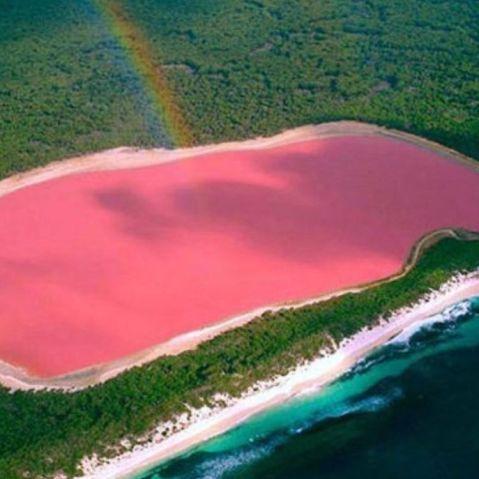 A floresta, o arco-íris, o oceano e o Lago Retba, ou Lago Rosa, no Senegal, África.  Fotografia: Reprodução / Instagram.