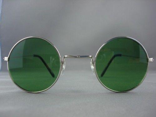 $12.95 Retro Vintage Round Hippie Silver with Green Lens Sunglasses 7008D | eBay