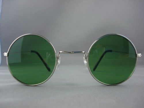 $12.95 Retro Vintage Round Hippie Silver with Green Lens Sunglasses 7008D | eBay