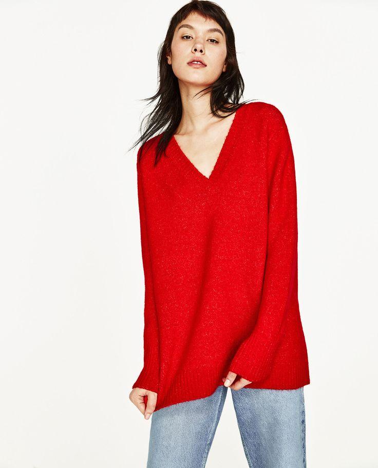 Camisola gola em v (vermelho): ZARA (29,95€)