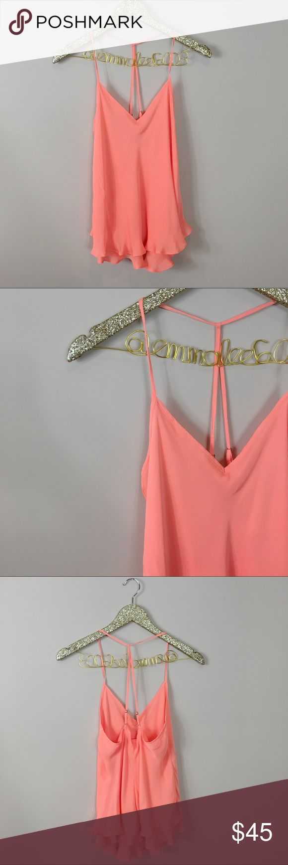 Anthropologie E by Eloise Orange Strappy Tank Excellent condition, no noticeable flaws! Anthropologie E by Eloise Orange Strappy Tank. Bright neon orange color with scalloped detail at bottom. Adjustable straps. So cute alone or under a Cardigan. Size XS. No modeling/trades. Anthropologie Tops Blouses