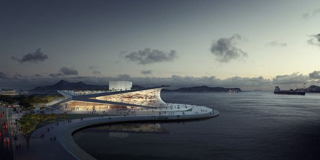 Aerial view of Snøhetta's competition-winning Busan Opera House proposal