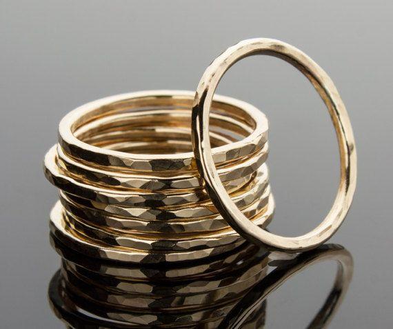 14K Gold Filled stapelen Ring stapelbare ringen gehamerd
