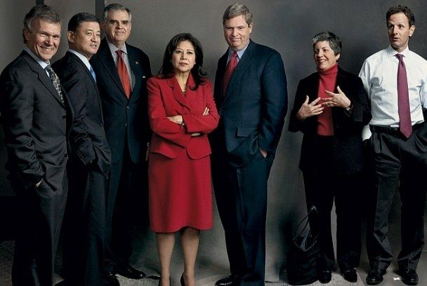 The Obama Cabinet, from left: TOM DASCHLE, health and human services; ERIC SHINSEKI, veterans affairs; RAY LaHOOD, transportation; HILDA SOLIS, labor; TOM VILSACK, agriculture; JANET NAPOLITANO, homeland security; TIMOTHY GEITHNER, Treasury. Photo by Annie Leibovitz for Vanity Fair February 2009.